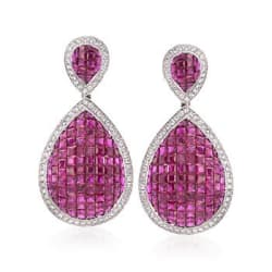 19.00 ct. t.w. Ruby and 1.90 ct. t.w. Diamond Pear-Shaped Drop Earrings in 18kt White Gold