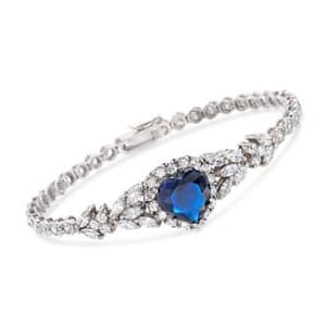 12.40 ct. t.w. Blue and White CZ Heart Bracelet in Sterling Silver #824044
