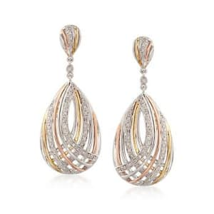 Tri-Colored Crisscross Teardrop Earrings With Diamonds #799463