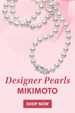 Designer Pearls Mikimoto. Shop Now. Image Featuring Pearl Necklace on Pink Background