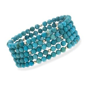 Set of Five Turquoise Bracelets in 14kt Yellow Gold #787024