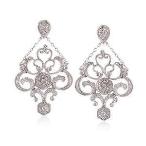 Diamond Chandelier Drop Earrings in Sterling Silver #813237