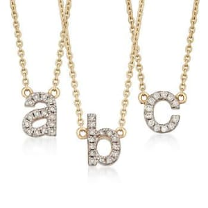 Diamond Accent Mini Initial Necklace in 14kt Yellow Gold #799498