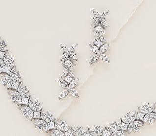 Faux In Love. Luxe wedding looks for less. Image of CZ earrings and necklace.