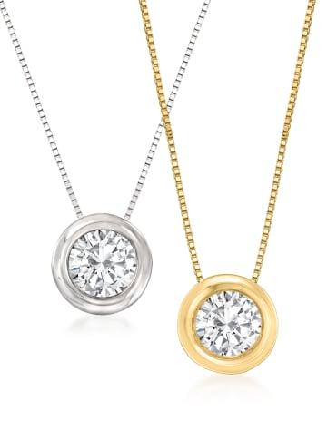 Bezel-Set Diamond Pendants