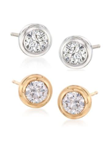 Bezel-Set Round Diamond Earrings Classic Collection