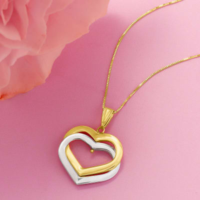two-tone gold interlocking hearts pendant necklace