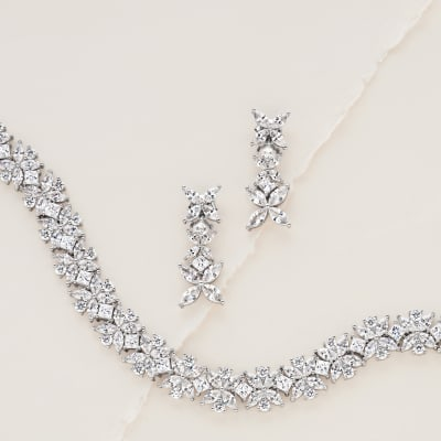 CZ Jewelry. Image Featuring CZ Earrings and Bracelet