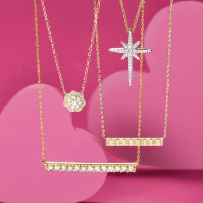 simple diamond bar necklaces