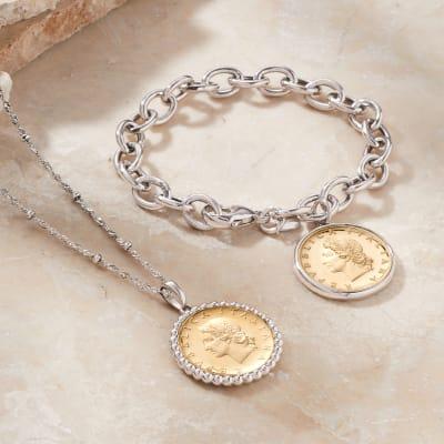 Lira Jewelry. Image featuring Italian Genuine 20-Lira Coin Pendant Necklace 892398, Italian Genuine 20-Lira Coin Charm Bracelet in Sterling Silver 898646.