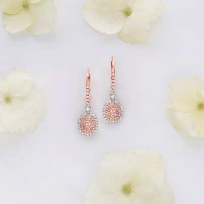 Rosy Hues. Image Featuring Rosy Gemstone Earrings