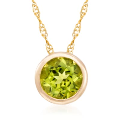 .90 Carat Bezel-Set Peridot Pendant Necklace in 14kt Yellow Gold