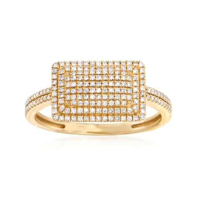 .25 ct. t.w. Pave Diamond Rectangular Ring in 14kt Yellow Gold