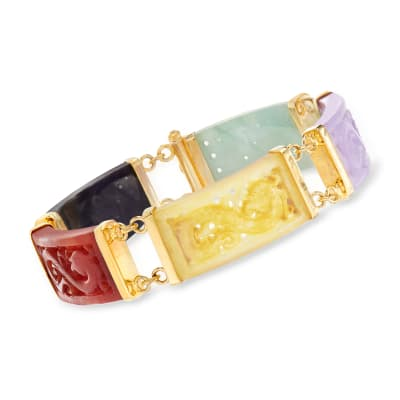 Multicolored Jade Dragon Bracelet with 18kt Gold Over Sterling