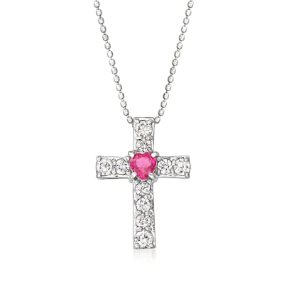 C. 1990 Vintage .27 Carat Ruby and .50 ct. t.w. Diamond Cross Pendant Necklace in 18kt White Gold