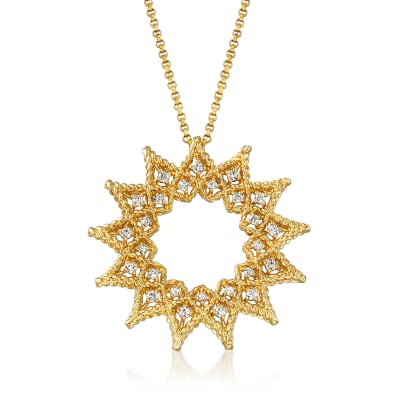 "Roberto Coin ""Roman Barocco"" .22 ct. t.w. Diamond Open Sun Necklace in 18kt Yellow Gold"