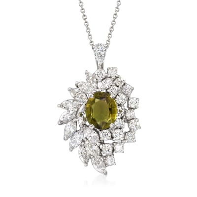 C. 1980 Vintage 3.00 Carat Green Tourmaline and 3.77 ct. t.w. Diamond Pendant Necklace in Platinum