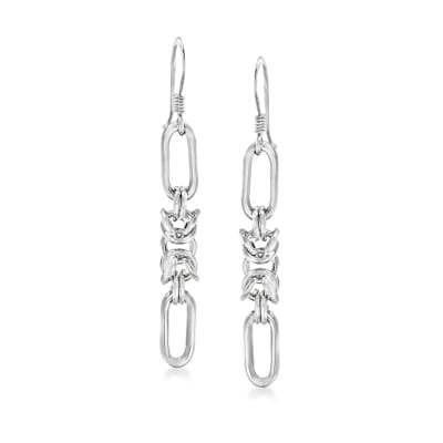 Italian Sterling Silver Byzantine Paper Clip Link Earrings
