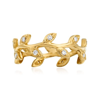 .19 ct. t.w. Diamond Leaf Eternity Ring in 14kt Yellow Gold