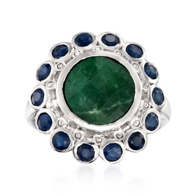 5.00 Carat Emerald and 1.90 ct. t.w. Sapphire Ring in Sterling Silver