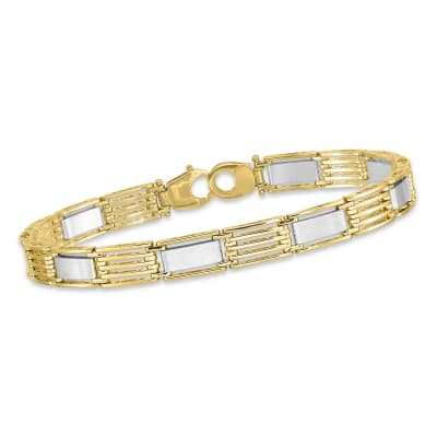 Men's 14kt Two-Tone Polished Link Bracelet. 8.5""