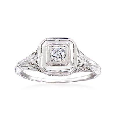 C. 1950 Vintage .12 Carat Diamond Filigree Ring in 18kt White Gold