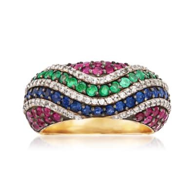 2.00 ct. t.w. Multi-Gemstone Wave Ring in 18kt Gold Over Sterling