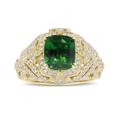 3.10 Carat Tsavorite Ring with .70 ct. t.w. Diamonds in 14kt Yellow Gold