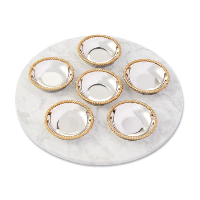 """Reed & Barton """"Roseland"""" Marble and Two-Tone Seder Plate"""
