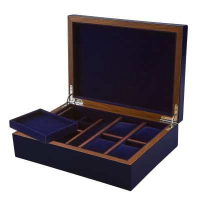 Blue Wooden Jewelry Box