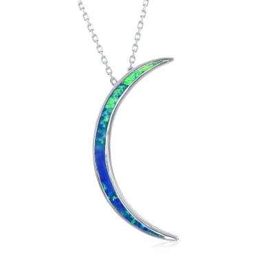 Blue Synthetic Opal Crescent Moon Pendant Necklace in Sterling Silver