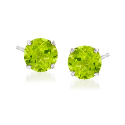 4.20 ct. t.w. Peridot Stud Earrings in 14kt White Gold
