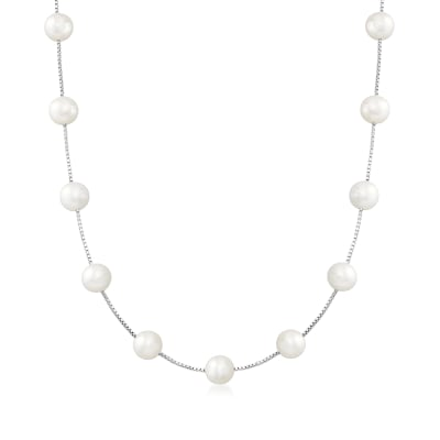 8-8.5mm Cultured Pearl Station Necklace in Sterling Silver