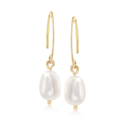 6mm Cultured Pearl Drop Earrings in 14kt Yellow Gold
