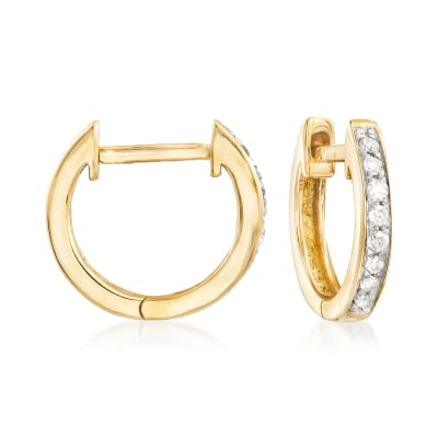 .10 ct. t.w. Diamond Huggie Hoop Earrings in 14kt Yellow Gold