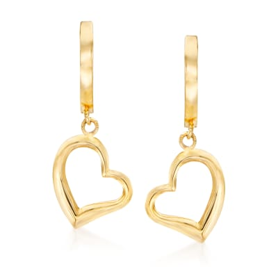 14kt Yellow Gold Open-Space Heart Drop Earrings