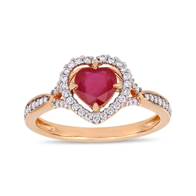 1.04 Carat Ruby and .22 ct. t.w. Diamond Heart Ring in 14kt Rose Gold