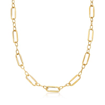 Italian 14kt Yellow Gold Paper Clip Link Station Necklace