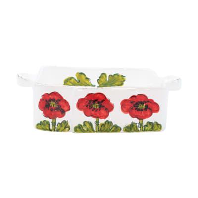 "Vietri ""Lastra"" Poppy Flower Square Baker from Italy"