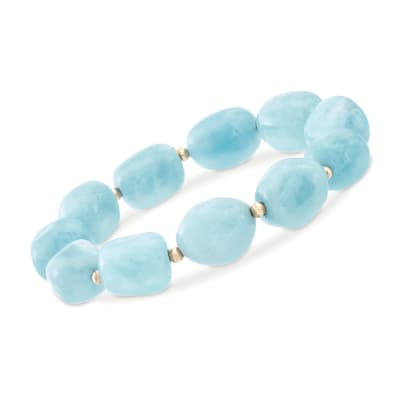 Blue Aquamarine Bead Stretch Bracelet with 14kt Yellow Gold