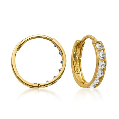 Child's .25 ct. t.w. CZ Hoop Earrings in 14kt Yellow Gold