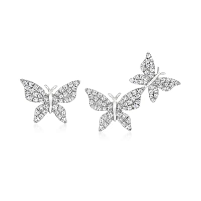.35 ct. t.w. Diamond Butterfly Mismatched Earrings in 14kt White Gold