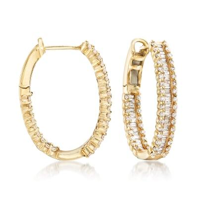 1.82 ct. t.w. Diamond Hoop Earrings in 14kt Yellow Gold