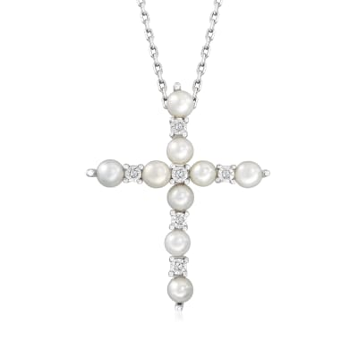 3mm Cultured Pearl Cross Pendant Necklace with Diamond Accents in Sterling Silver