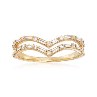 .33 ct. t.w. Diamond Double-Row Chevron Ring in 14kt Yellow Gold