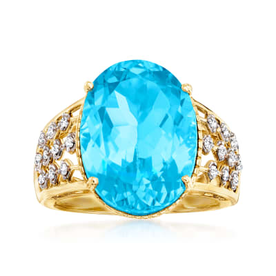 11.00 Carat Swiss Blue Topaz and .16 ct. t.w. Diamond Ring in 14kt Yellow Gold
