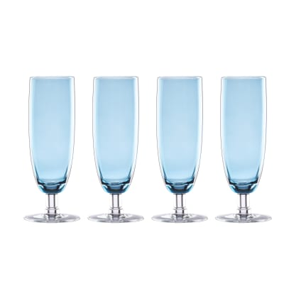 "Lenox ""Valencia"" Set of 4 Blue Flute Glasses"