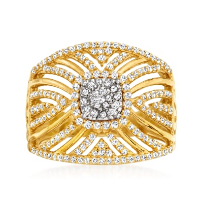 .63 ct. t.w. Diamond Two-Tone Openwork Ring in 18kt Gold Over Sterling with Sterling Silver