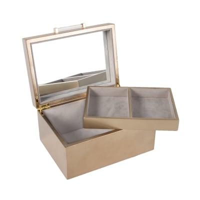 "Brouk & Co. ""Athena"" Metallic Gold Wooden Jewelry Box"