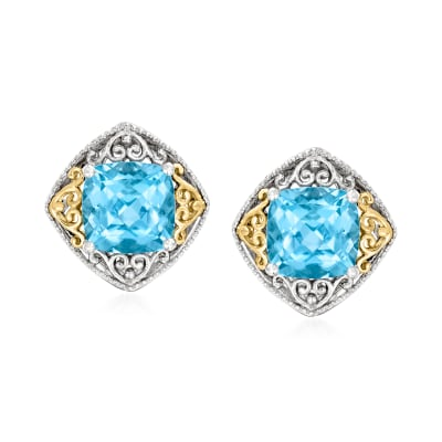 3.90 ct. t.w. Swiss Blue Topaz Earrings in Sterling Silver and 14kt Yellow Gold